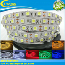 LED strip 5050 12V flexible light 60 leds/m,5m/lot Warm White,Blue,Green,Red,Yellow,RGB