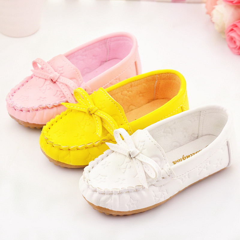 2015 Autumn New Little Causal girls shoes Bowtie baby Loafers sneakers Slip on Candy Color Children