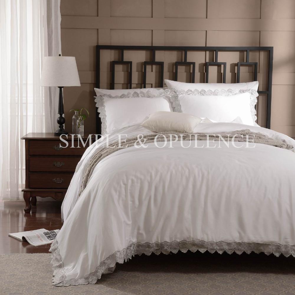 100 coton 400tc luxe housse de couette brod royale literie avec de mari e en dentelle y. Black Bedroom Furniture Sets. Home Design Ideas