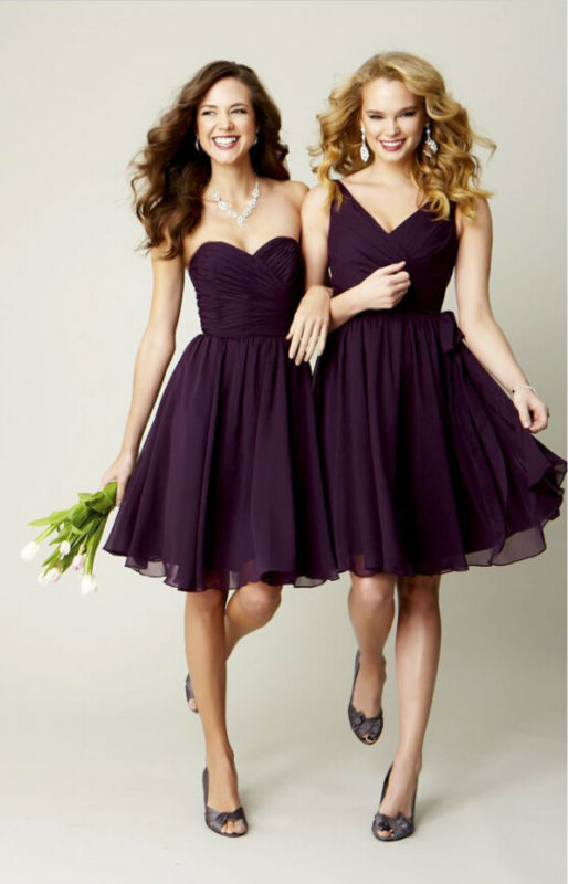 Short Plum Bridesmaid Dresses 2015 Sexy Junior Bridesmaid ...