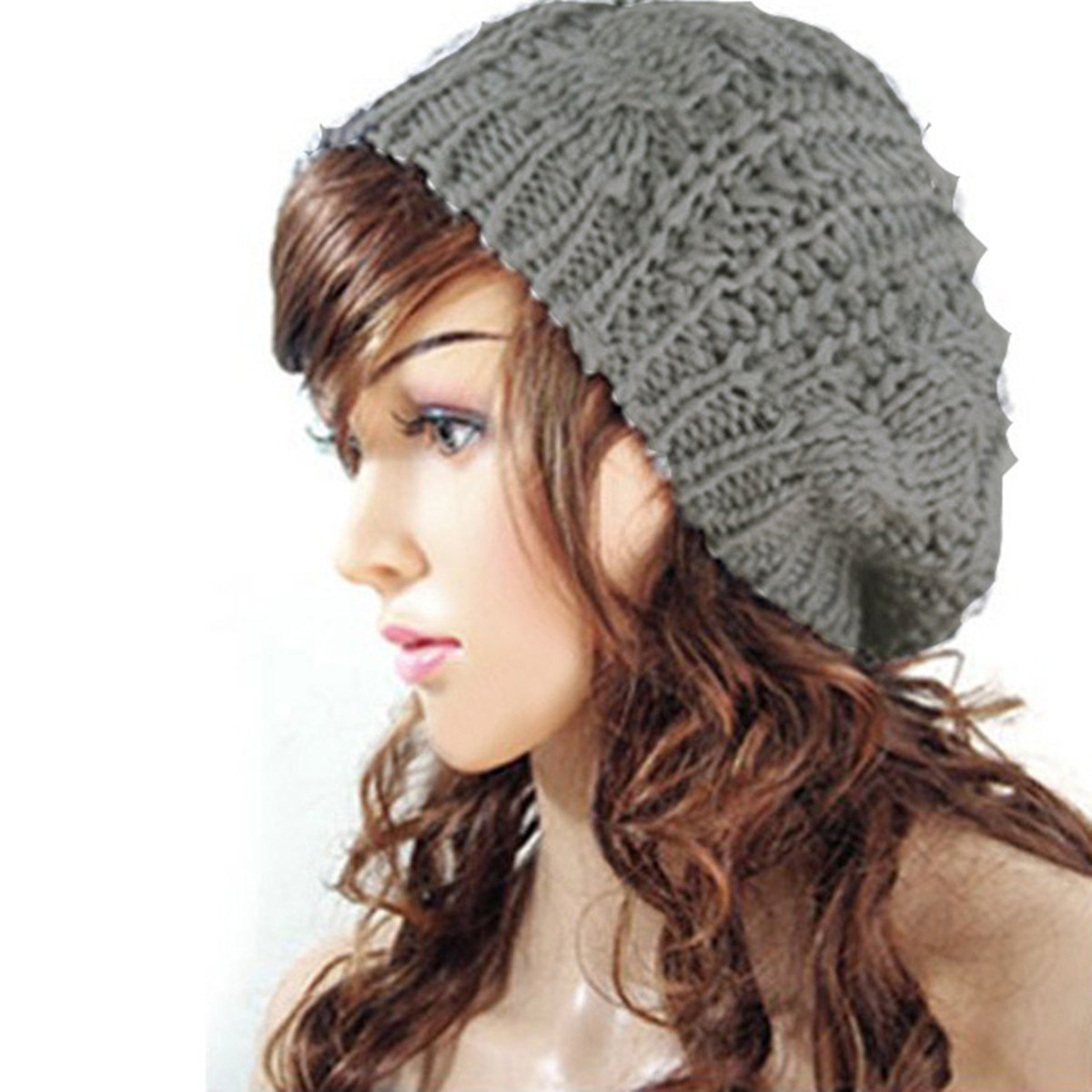 2019 NEW Women Baggy Beret Chunky Knit Braided Beanie Hat Cap Light ... 6ee697d1733