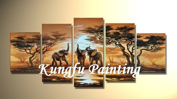 5-6056 100% handmade high quality landscape african art paintings elephant 5 panels home decoration wall art picture unframed