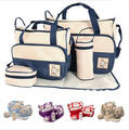 2016 Fashion Baby Care 5Pcs set Diaper Bag Mummy Nappy Bag Baby Nappy Bag High Quality