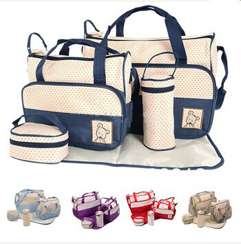 2016 Fashion Baby Care 5Pcs/set Diaper Bag Mummy Nappy Bag Baby Nappy Bag High Quality Baby Changing Bags