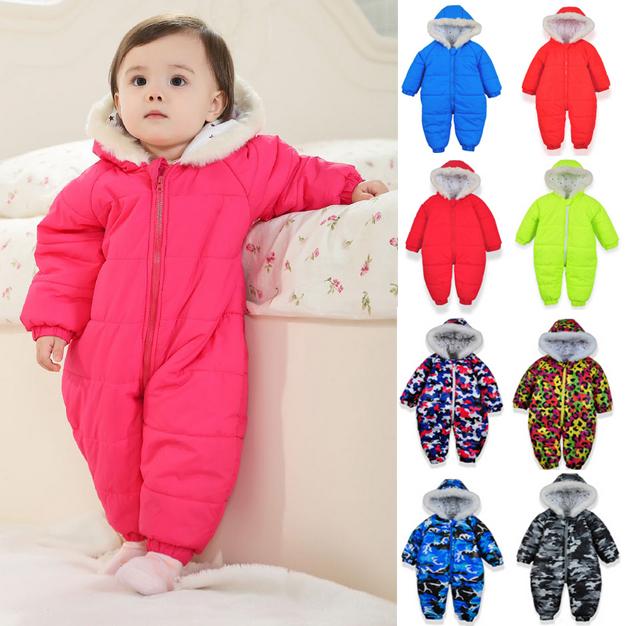 Девочка новорожденный осень - зима младенцы комбинезоны пространство хлопок пальто outerward младенческой мальчики-младенцы одежда