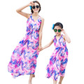 Fashion Bohemian Mom And Daughter Dresses Family Matching Outfits V neck Sleeveless Long Summer Dress Family