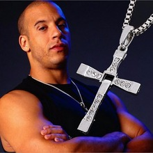 Vintage Fine Jewelry Punk Statement Necklace Trendy Male Silver Color Cross Crystal Necklace&Pendants For Men Jewelry 2015