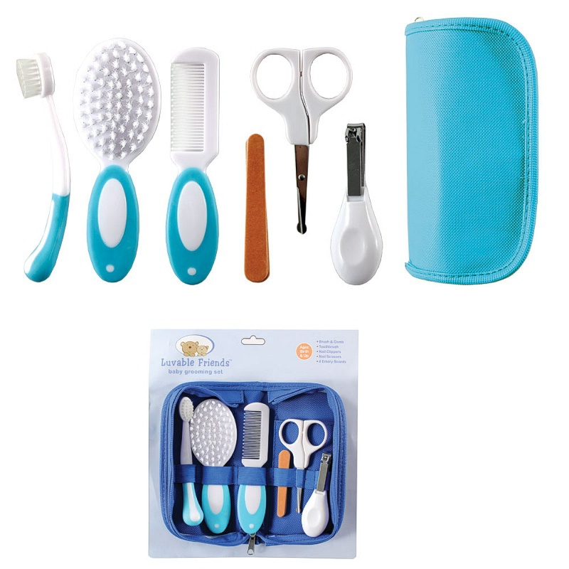 Baby Grooming Care Manicure Set Infant Toothbrush Hair Brush+Comb+Emery Nail File Board+Nail scissors+Nail Clipper