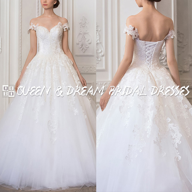 Simple Elegant Tulle A Line Scoop Neck Cap Sleeves Lace: Elegant Lace Wedding Dress White Tulle Lace Boat Neck Cap