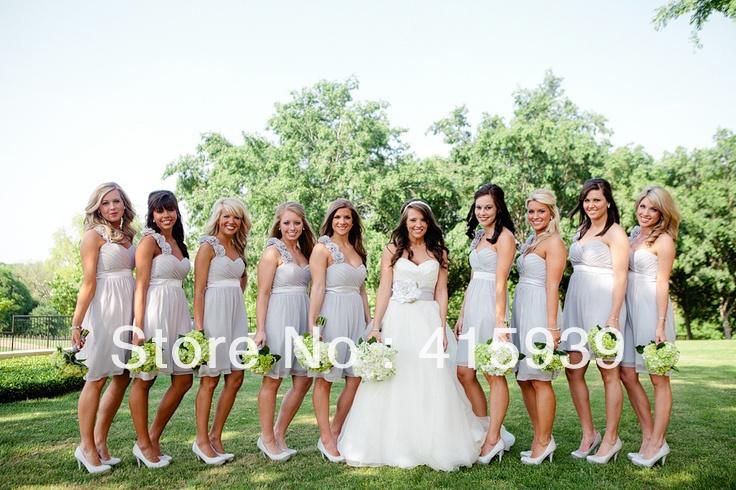 Light Gray Bridesmaid Dresses Knee Length Soft Tulle: Short Sweetheart One Shoulder Knee Length Chiffon Light