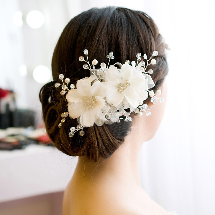 Flower Hair Pieces For Wedding: Wedding Bridal Red Flower Charming Hair Ornaments Beaded