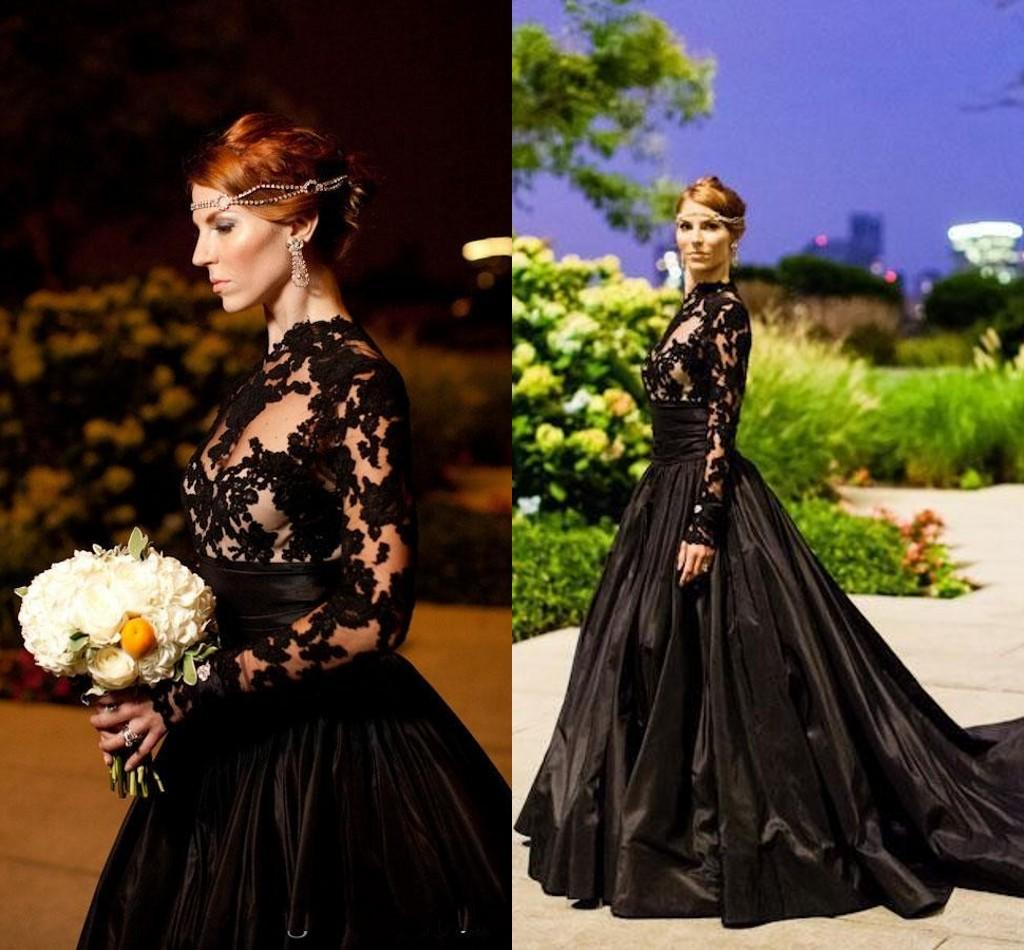Gothic Wedding Dresses 2016 A Line Strapless Black Taffeta: High Quality Gothic Prom Gowns-Buy Cheap Gothic Prom Gowns