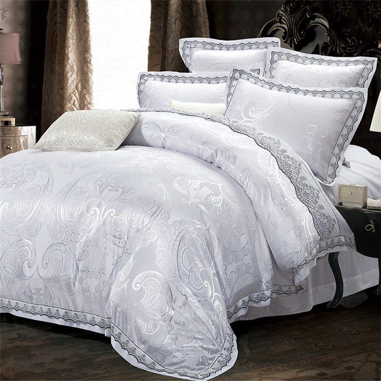 blanc dentelle jacquard couette ensembles de literie roi reine taille 4 pcs luxe satin de. Black Bedroom Furniture Sets. Home Design Ideas