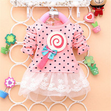2016 Newest Autumn Spring Kids Sweater Greatly Lollipop Full Version Dot Girls T-shirt Stitching Baby Girls lace Dresses H75