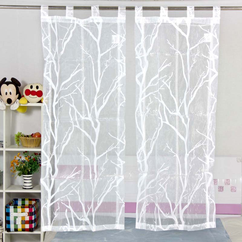 rod pocket type white transparent tulle curtains flocking pattern curtains for kitchen. Black Bedroom Furniture Sets. Home Design Ideas