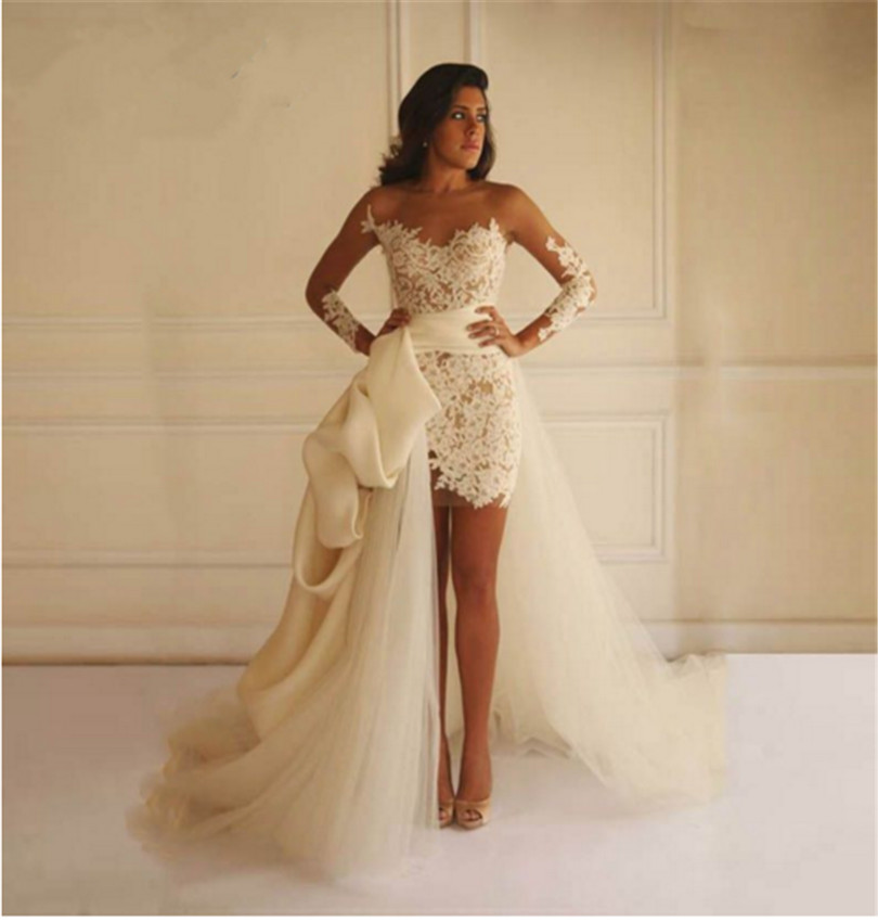 Bridal Dress With Detachable Train: Illusion Lace Neck Detachable Train Wedding Dresses Long