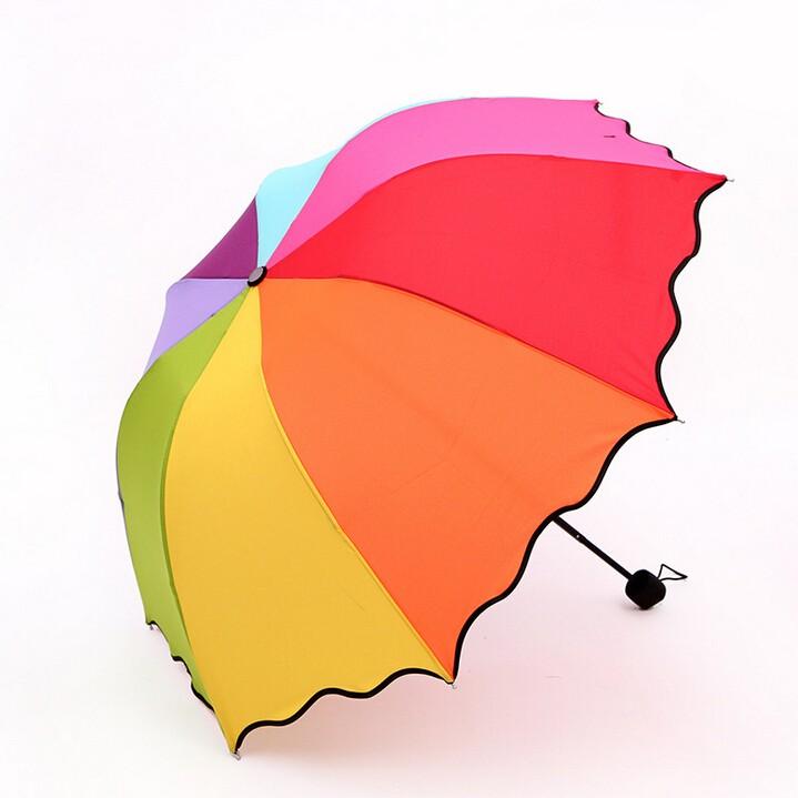 High Quality 8K 3 Fold Windproof Folding Umbrella Anti UV Sun Rain Umbrella  Rainbow Rainy Sunny Umbrella Man Woman Umbrellas 46262e637766