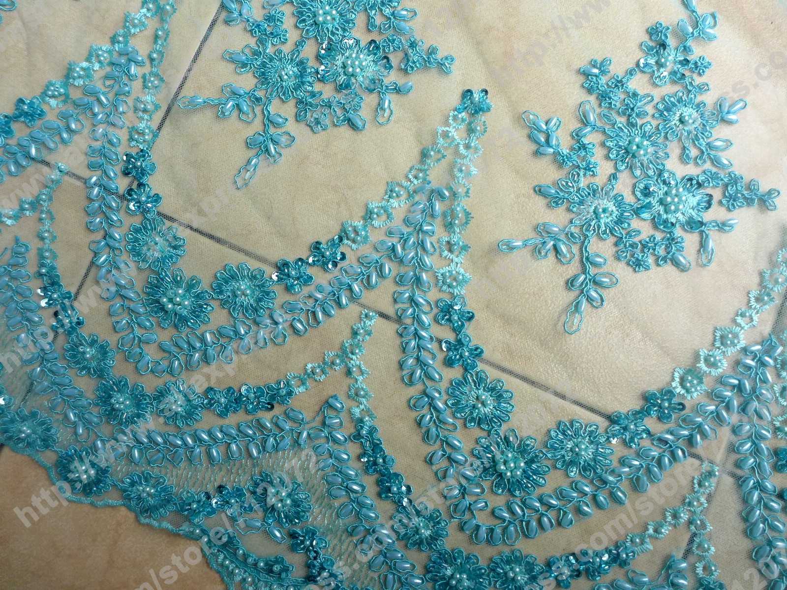 49 Blue Heavy Embroidery Fabric High End Handmade White