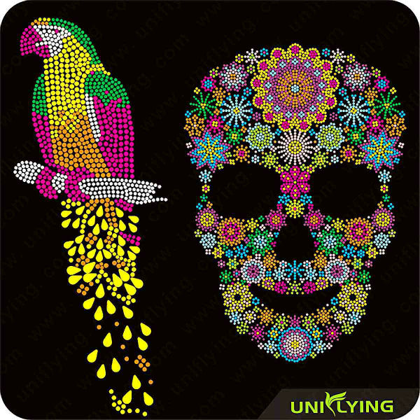 Wholesale special skull hotfix rhinestone templates for for Rhinestone template material wholesale