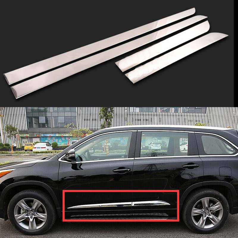 car styling body side trim auto accessories for toyota highlander 2015 stainless steel 4pcs per. Black Bedroom Furniture Sets. Home Design Ideas