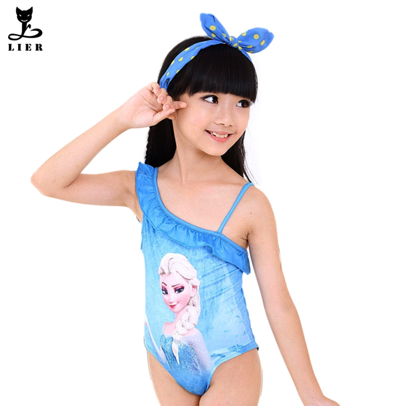 dbce15c07e230 Girls Swimwear Cartoon Elsa One Pieces For Toddler Girl Children Swimming  Costume Beachwear moda praia infantil