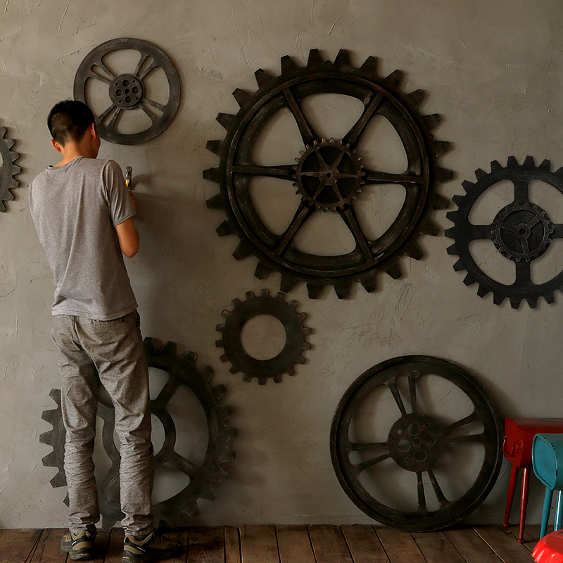 New Age Home Decor: Vintage Industrial Wood Large Gear Wall Decoration Muons