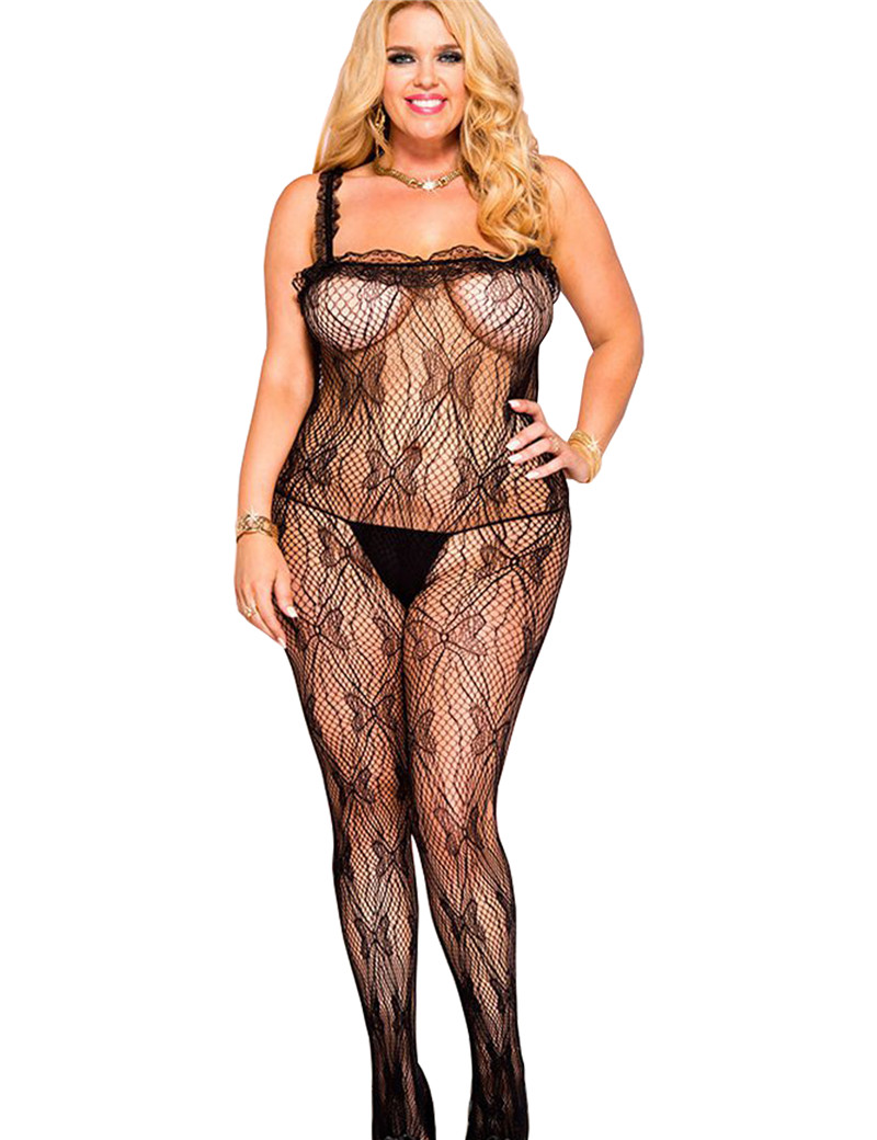 f1ade4e8b15 H3139 Solid black bodysuit for women transparent open crotch butterfly  pattern women bodystockings newest plus size clubwear