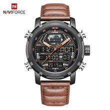 NAVIFORCE мужские спортивные часы, мужские аналоговые цифровые военные кварцевые часы, водонепроницаемые кожаные мужские наручные часы, мужски...(China)