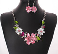 Sweet Cute Girl Love Pink Flower Rhinestone Necklace Earrings Jewelry Set Elegant Women Bride Wedding Party