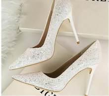 Женские свадебные модельные туфли; цвет золотой, розовый; женские туфли на высоком каблуке; пикантные туфли-лодочки без застежки; шикарные т...(Китай)