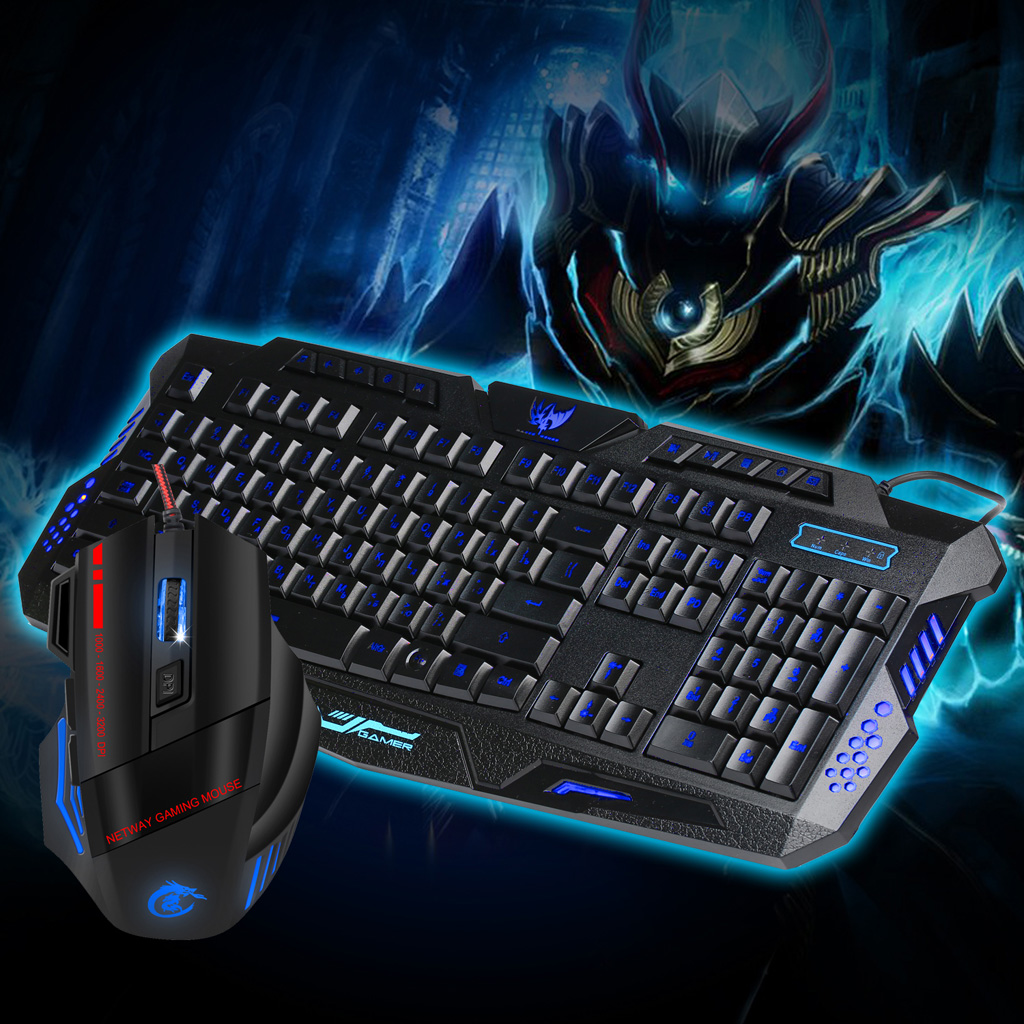 963a1880b6c MagiDeal J20 Wired Russian Characters Keyboard Mouse Set LED Colorful  Backlight Cracked Gaming Mouse Keyboard Combo