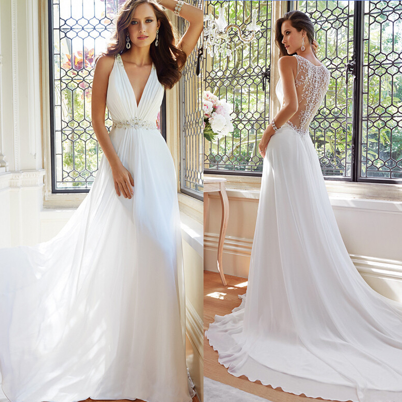 Cheap Wedding Dresses Colorado Springs: New Arrival Simple Elegant White Summer Beach Wedding
