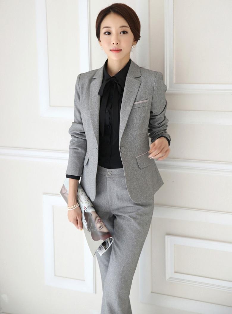 Grey Womens Pant Suit Dress Yy