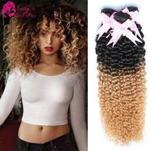 Malaysian Kinky Curly Hair Ombre Blond Malaysian Hair Weave Bundles 1b 27 Ombre Virgin Hair Malaysian