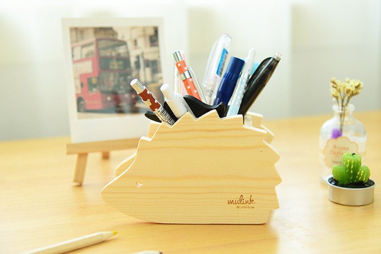 Wholesale Cute Animals Wooden Desktop Pen Holder Case