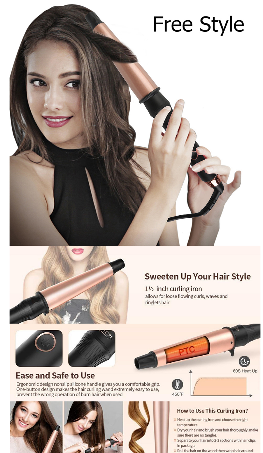 Explosion Rose Gold Conical Hair Curlers 1-1 5 Inch Ceramic Hair Curlers  Send Insulation Gloves UK