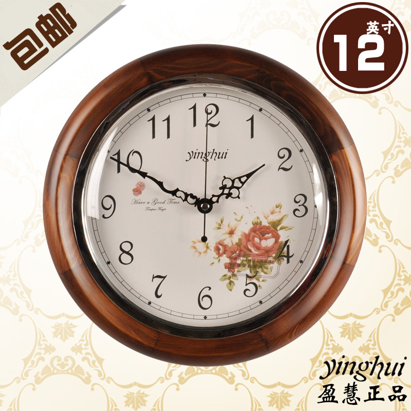 free shipping Fashion solid wood rustic wall clock mute clock quartz clock 12 170  home decoration