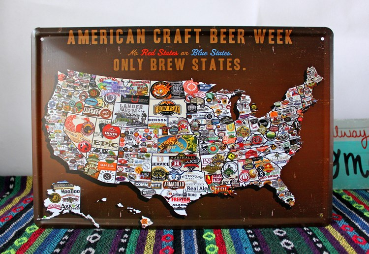 20x30cm American Craft Beer Week Only Brew States Usa Map