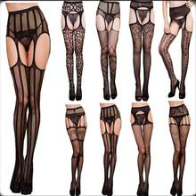 2015 sexy women mesh tight stockings Thigh High garter belt Silk Stocking solid Fishnet Pantyhose sexy fancy night club stocking