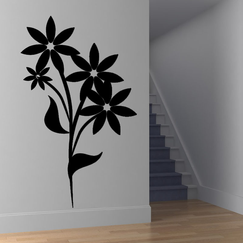 Hot Sale 2015 Wall Decal Self Adhesive Simple Flower Wall Sticker PVC Waterproof Home Decor