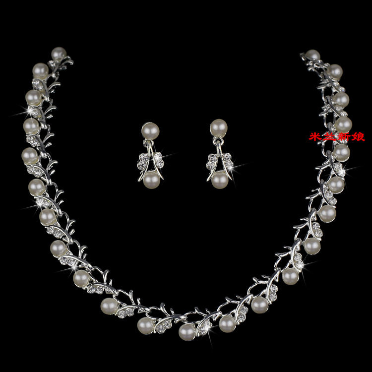 Cheap Pearl Necklace Sets: Elegant Bridal Jewelry Wedding Jewelry Alloy Necklace Red
