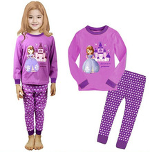 Children Clothing Girls Clothes Purple Sophia Princess Baby Kids Girls Long Sleeve Nightwear Sleepwear Pajama Sets