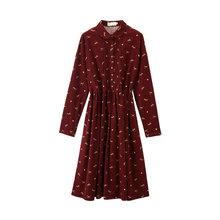 Женское вельветовое платье, с отложным воротником и принтом, 100% хлопок, inman(Китай)