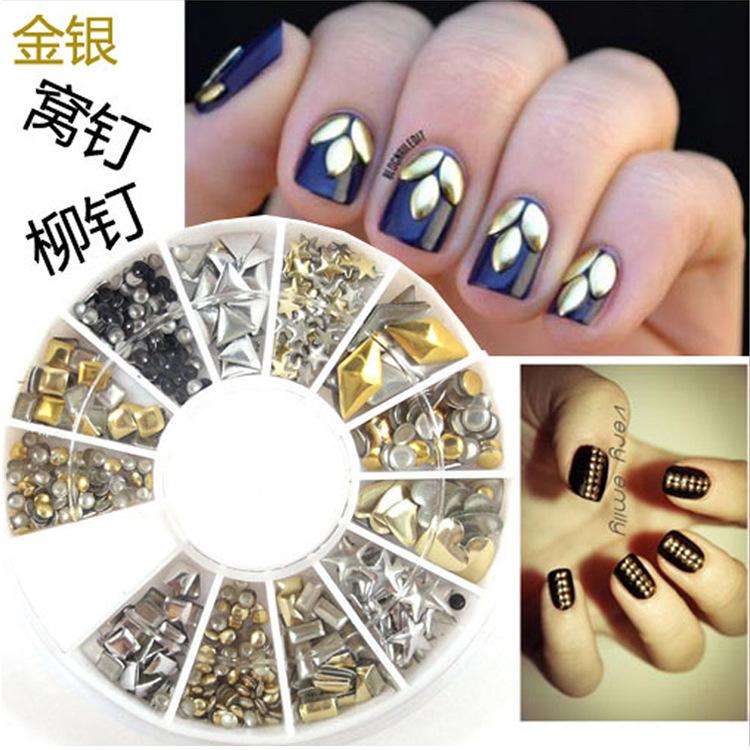 Manicure DIY nail accessories 6cm drill box Gold Silver Colored Drill Adesivo Unhas Nails Decal decoracion