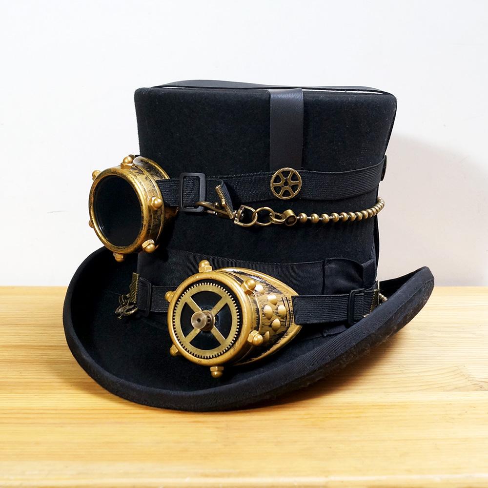 fd5d3cb78 US $96.6 16% OFF Black Women Men 100% Wool DIY Fedora Hat Steampunk Hat  Steam Punk Gear fedoras Hat Millinery Steampunk Goggles DIY Handmade Cap-in  ...