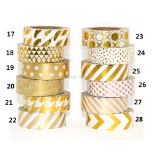 High qulity Gold foil 10m paper tape dot,strip,pineapple,heart charistmas decorative washi tape 1pcs
