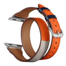 Роскошный браслет с двойной петлей ремешок для часов аpple 38 мм 40 мм 42 мм 44 мм Натуральная кожа для iwatch серии 1 2 3 4 ремешок для часов(Китай)