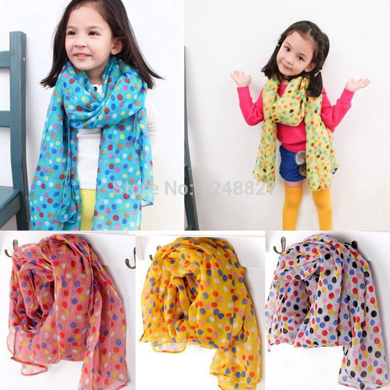 New Fashion Kid Chiffon Scarf Autumn Winter children s scarf Kids dot silk scarves girls boys
