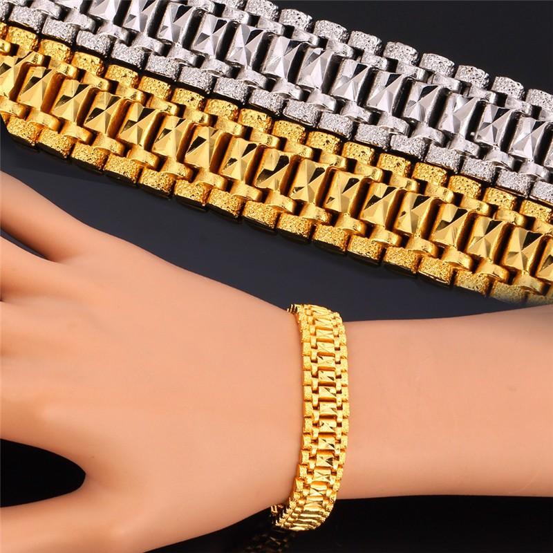 2019 Wholesale Trendy New Bracelet Men Gold Chain 19CM 18K Real  Gold/Platinum Plated High Quality Mens Bracelets Bangles Wholesale H4500  From Sweet59,