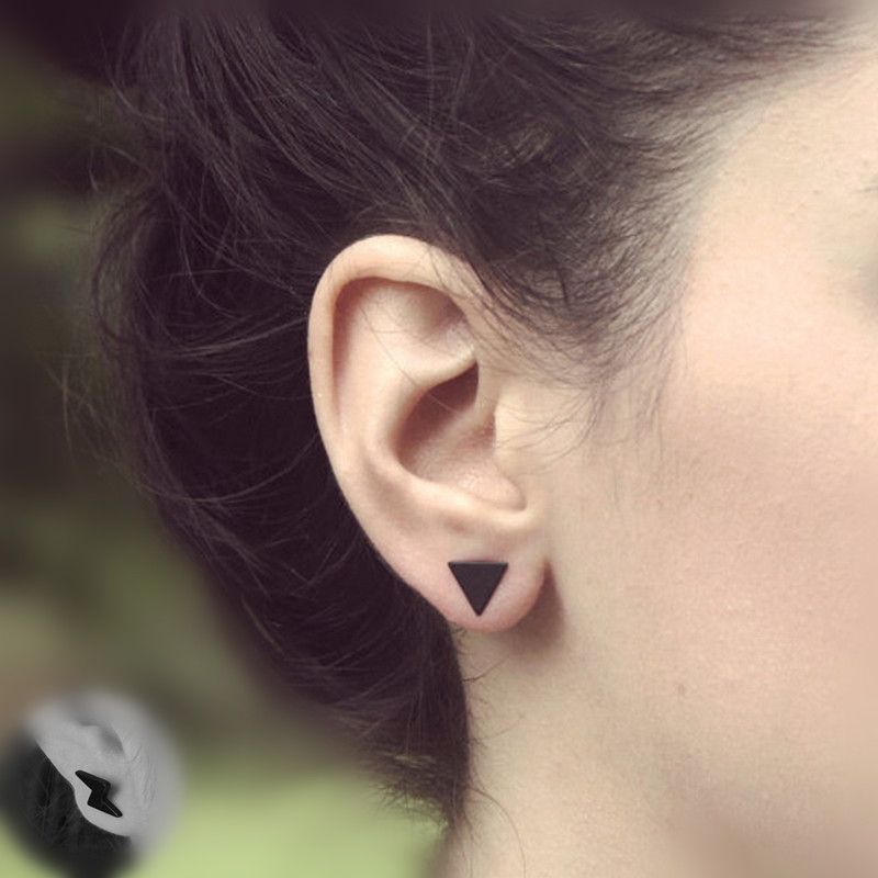 New fashion black gold silver 3 color western triangle round flash stud earrings for women gifts